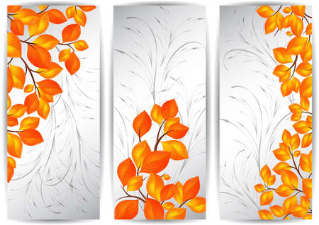 ornamental background: Illustration of banners with colorful autumn leaves and ornamental background Illustration