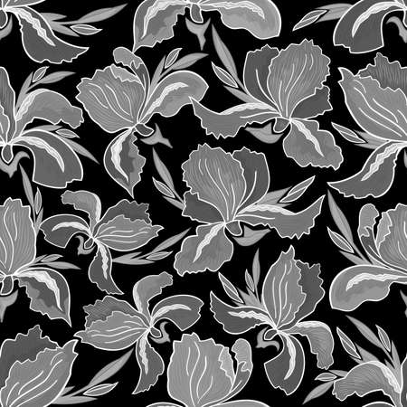hatched: Illustration of seamless floral pattern with hatched iris flowers on black background