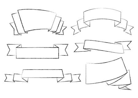 monochromic: Illustration of charcoal outlines of ribbon banners in black color Illustration