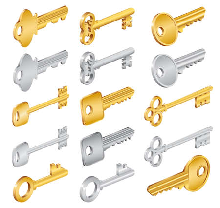 Illustration of house keys in various styles isolated