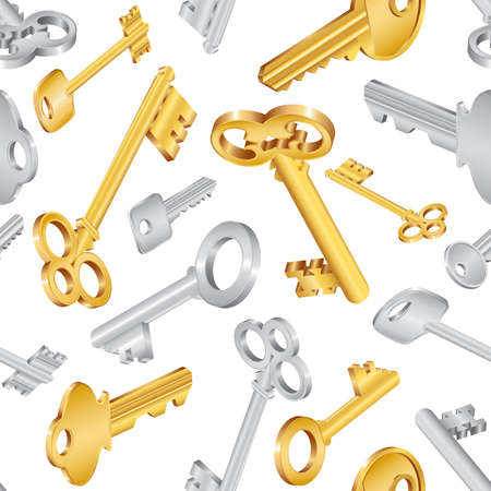 key lock: Illustration of seamless pattern with house keys in various styles isolated