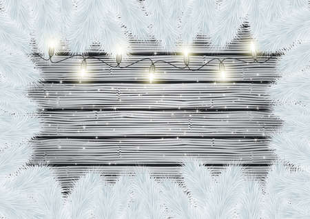 Illustration of frame from white Christmas tree branches and lights on wooden background