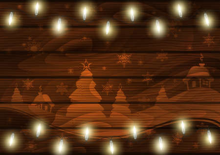 Illustration of Christmas landscape and lights on wooden background Illustration