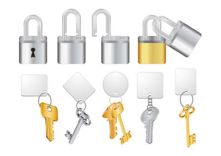 padlock: Illustration of open and closed padlocks with keys and keychains isolated