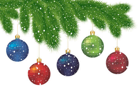 Illustration of Christmas tree branches with colorful balls covered with snow isolated