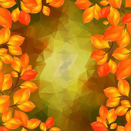 Illustration of golden leaves frame with triangle background Illustration