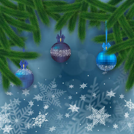 festal: Illustration of Christmas tree branches with blue balls, bows and snowflake background