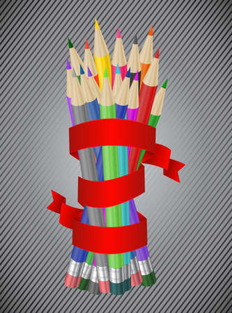 sharpened: Illustration of bunch of pencils in various colors with red ribbon