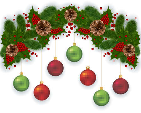 decoration: Illustration of Christmas decoration with fir tree branches, balls, mistletoe and pinecones isolated Illustration