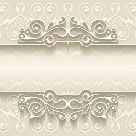 vintage border: Illustration of paper border decoration template with abstract ornament