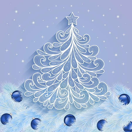 festal: Illustration of abstract Christmas tree with star top and blue balls Illustration