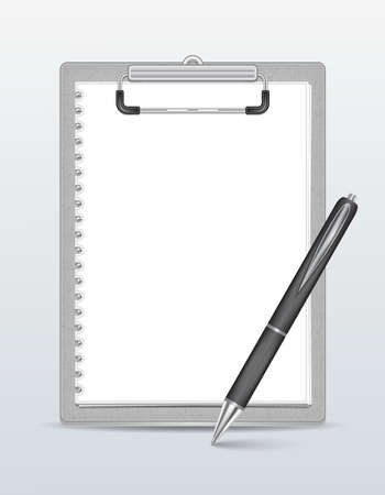 note pad: Illustration of clipboard with blank paper and pen