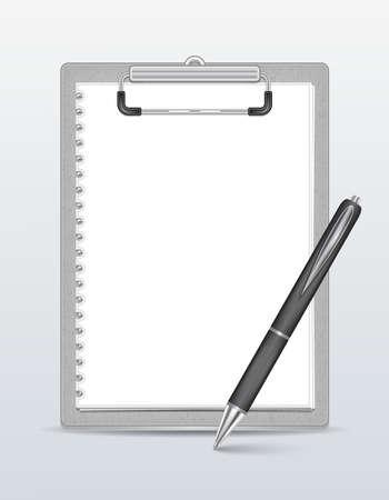 papel de notas: Ilustraci�n de portapapeles con papel en blanco y un bol�grafo