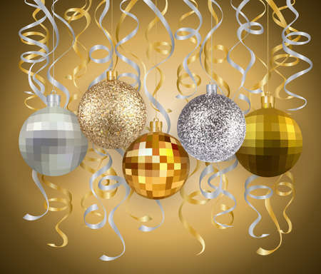 Illustration of Christmas balls with streamers in silver and gold colors Illustration