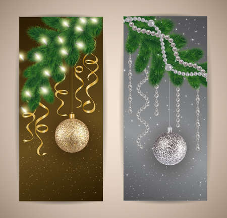 streamers: Illustration of banners with Christmas tree branches, balls, lights, streamers and beads