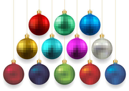 festal: Illustration of Christmas balls in various colors isolated Illustration