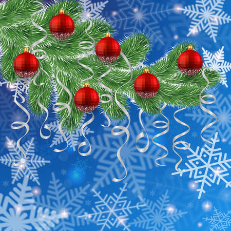 festal: Illustration of Christmas tree branches with red balls, paper streamers and snowflake background