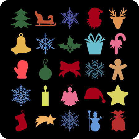 winterberry: Illustration of Christmas symbols in various colors on black background Illustration