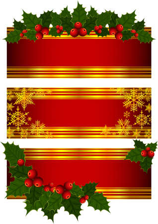 winterberry: Illustration of banners with Christmas holly decoration and snowflakes Illustration