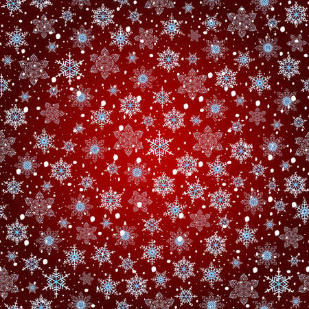 festal: Illustration of seamless snowflake pattern in white and blue colors on red background