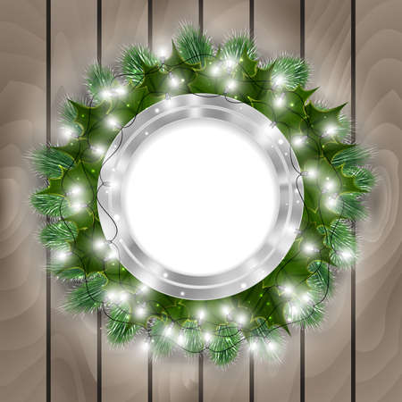 winterberry: Illustration of Christmas decoration with round banner, fir tree branches, mistletoe, lights and wooden background Illustration
