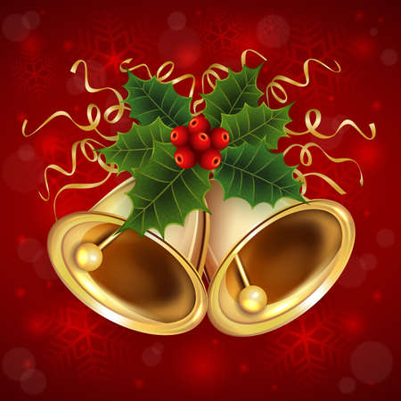 Illustration of Christmas bells with holly and paper steamers on red background Illustration