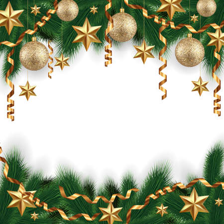 festal: Illustration of Christmas decoration with fir tree branches, gold balls, stars and paper streamers isolated