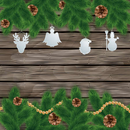 cutouts: Illustration of Christmas decoration with fir tree branches, pinecones, beads and paper cutouts on wooden background