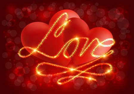 Illustration of valentines day card template with red hearts, love lettering and bokeh background