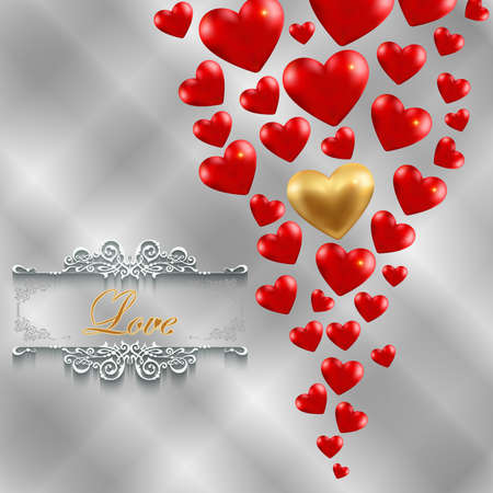 Illustration of valentines day card template with gold and red hearts, love lettering and ornamental borders