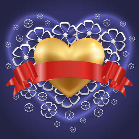 Illustration of valentines day card template with gold heart, red ribbon and floral background