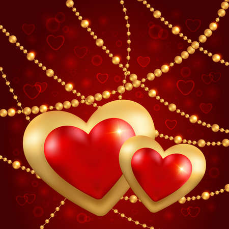 Illustration of valentines day card template with red and gold hearts and beads