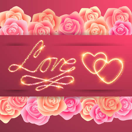 Illustration of valentines day card template with love lettering, gold hearts and rose borders