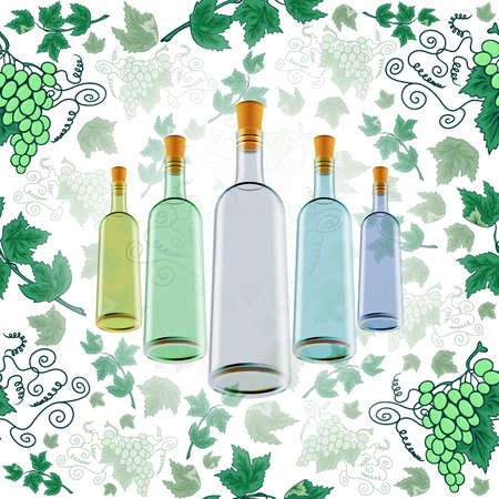 Illustration of wine bottles in various colors and grape background Illustration