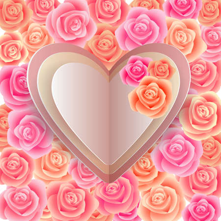 cordial: Illustration of template for wedding, greeting, invitation or valentines day card with paper heart cutouts and rose background