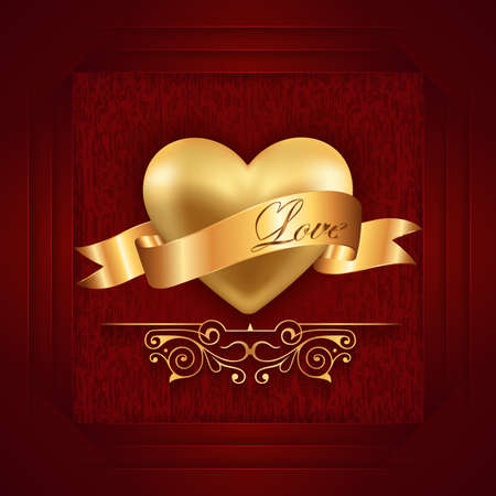 decorative design: Illustration of valentines day card template with gold heart, ribbon, love lettering and grunge background Illustration