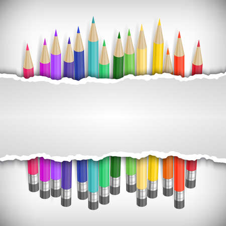 sharpened: Illustration of colored pencils with banner made of torn paper
