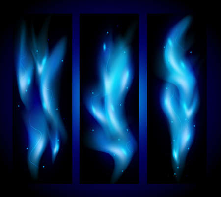 Illustration of banners with blue flame tips and sparks on black background Illustration