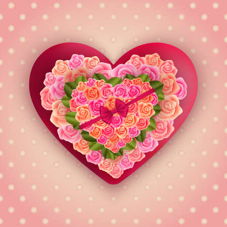Illustration of valentines day card template with hearts made of roses, ribbon and polka dot background Illustration