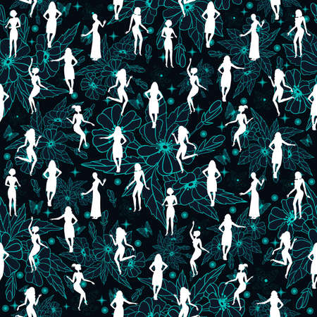 Illustration of seamless pattern with flowers and female silhouettes in blue, white and black colors