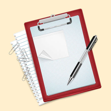 Illustration of clipboard with pen, checked and lined paper, sticker and paper clips