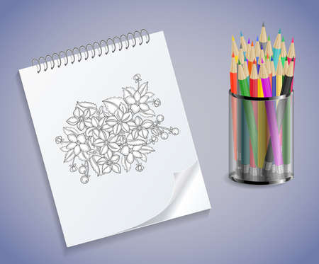 spiral notebook: Illustration of spiral notebook with floral sketch and colored pencils in holder