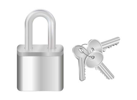 Illustration of key bunch and padlock in silver colors isolated Illustration