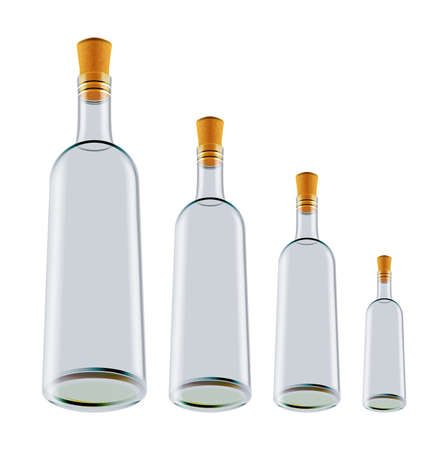 Illustration of wine bottles in various sizes isolated