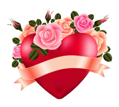 Illustration of template for wedding, greeting, invitation or valentines day card with heart, roses and ribbon isolated
