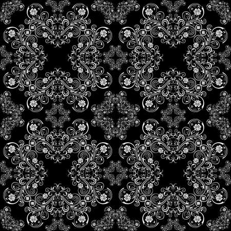 Illustration of seamless pattern with abstract ornament in black and white colors