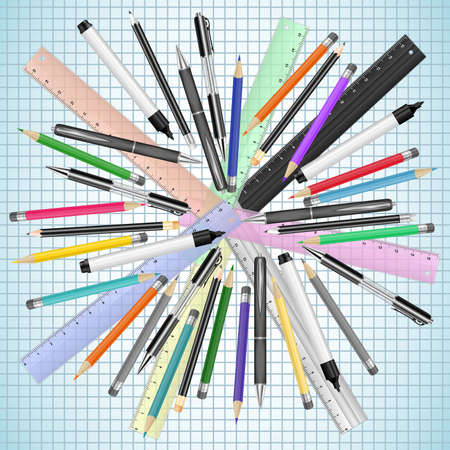Illustration of stationery supplies for school and office Illustration