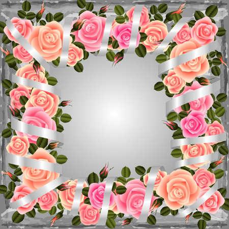 festal: Illustration of rose frame in pastel pink colors with silky ribbon and grunge background