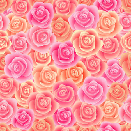 Illustration of seamless pattern from roses in pastel pink colors