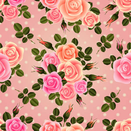 festal: Illustration of seamless pattern from roses in pastel pink colors and polka dot background